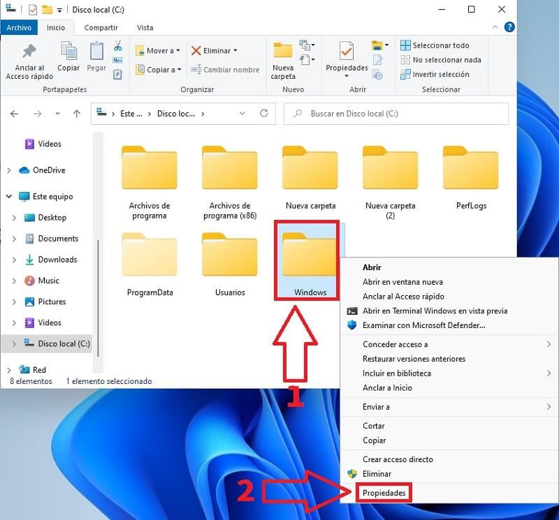 acceder a propiedades de carpeta Windows 11.