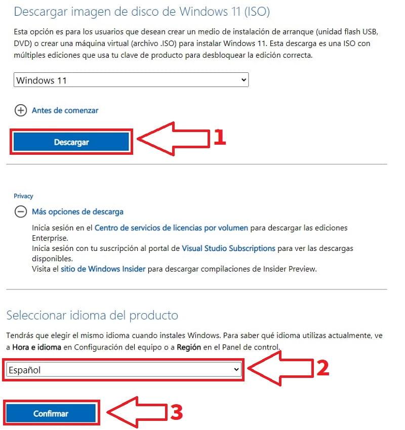 instalar Windows 11 en español oficial.